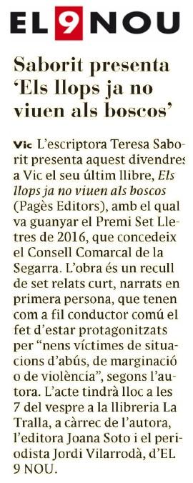 Llibreria_La_Tralla-Presentacio_Vic-segon_llibre_ficcio_mes_venut_setmana-Els_llops_ja_no_viuen_als_boscos-Teresa_Saborit-Jordi_Vilarroda_El9nou-Pages_Editors-Joana_Soto