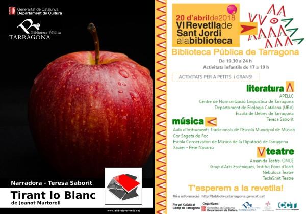 20180413-Tirant_lo_Blanc-Joanot_Martorell-Lectura_veu_alta-Narradora_Teresa_Saborit-Revetlla_Sant_Jordi-Biblioteca_publica_Tarragona