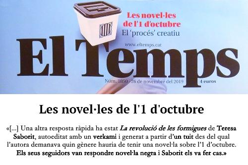 20191125-El_Temps-Alex_Milian-Novelles_1_octubre-Proces_independencia_republica-Teresa_Saborit-Larevoluciodelesformigues
